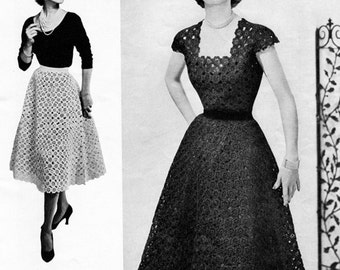 50s Vintage Crocheted Floral Dress - Crochet Pattern - Digital PDF eBook