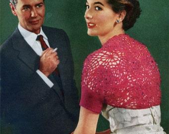 Vintage Crocheted Shoulder Shrug - 1950s Crochet Pattern - PDF eBook