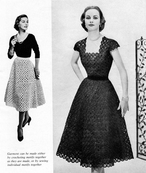 50s Vintage Crocheted Floral Dress - Crochet Pattern - Digital PDF eBook