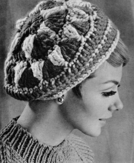 Vintage Knitting Pattern Beret : Vintage Crocheted Beret 1960s Hat Pattern Vintage Knitting