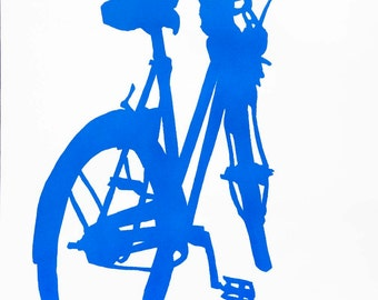 Bicycle Art Print - Alice's Bike in Blue
