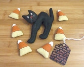 Primitive Halloween Folk Art Cat and Candy Corn Bowl Filler Decorations