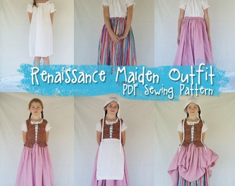PDF SEWING PATTERN - Complete Renaissance Maiden Dress - girls age 4 thru 12 - 2 easy versatile sizes - chemise bodice medieval ren gown
