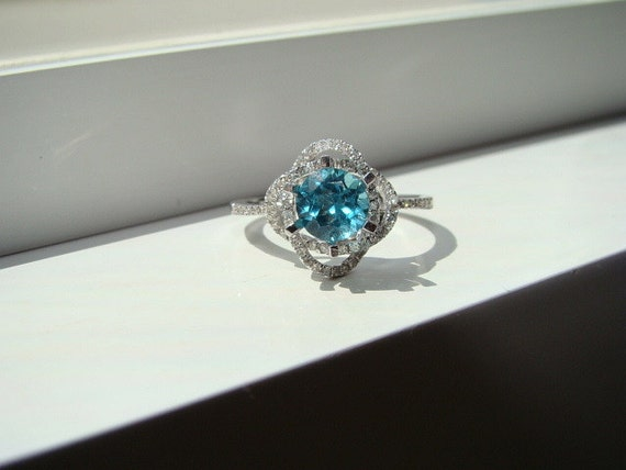 teal wedding rings items similar to halo teal apatite ring aqua 7934
