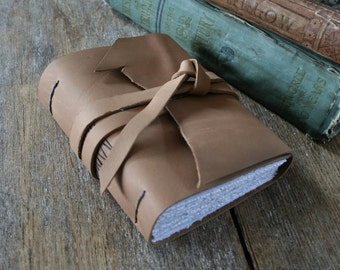 "Leather Journal . George Orwell quote ""Good writing is like a window pane"" . handmade handbound . mink brown  (320pgs)"