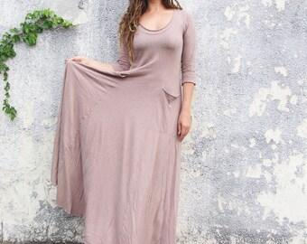ORGANIC Women's Crescent Perfect Pockets Long Dress - ( LIGHT hemp/organic cotton knit ) - organic hemp dress
