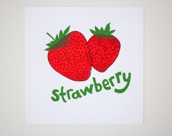 art print strawberry silkscreen print