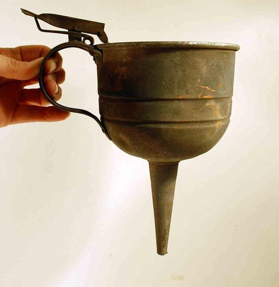 Vintage Copper Automobile Car Oil Funnel Filter With Regulator