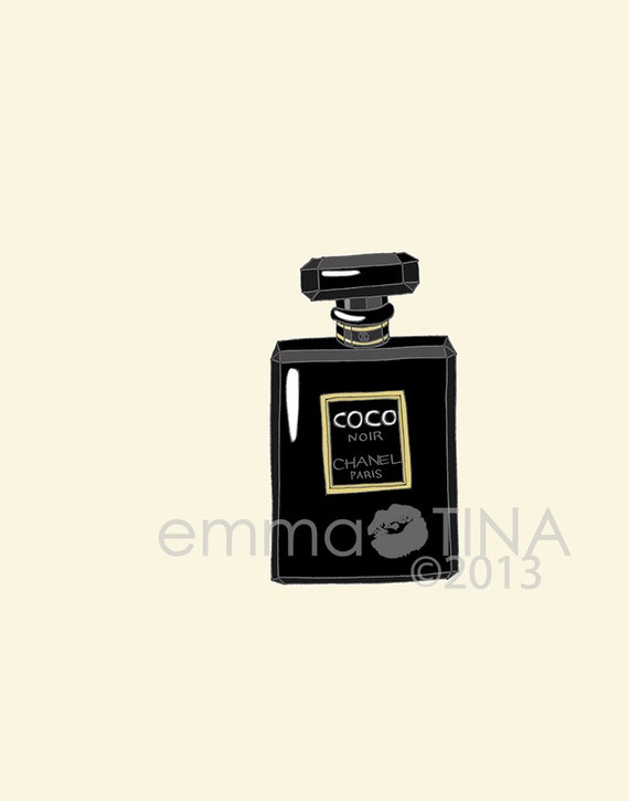 Chanel Coco Noir Perfume Fashion Illustration Art by emmakisstina