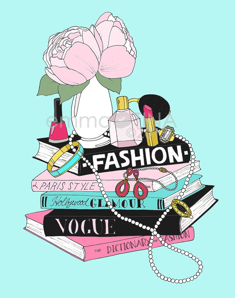 Fashion Book Stack Fashion Illustration Art Poster by ...