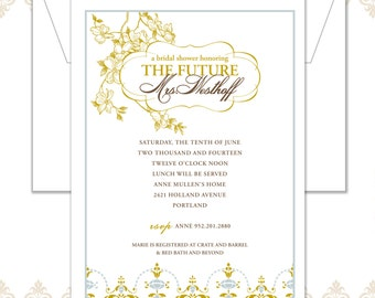 Vintage Flower Bridal Shower Invite