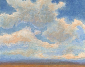 Original Landscape Painting on canvas 8x8 Clouds and Sky Summer Prairie Horizon