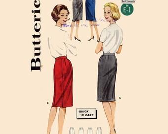1950s slim skirt 50s slim sheath wiggle skirt vintage sewing pattern Butterick 2115 Waist 28