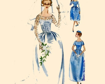 50s Wedding gown or bridesmaid dress vintage sewing pattern McCalls 5207 Bust 34 DIY handmade wedding pattern