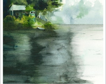 Lone Pine Cottage- Archival print of original watercolor