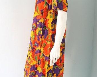 Vintage 60s 70s Bold Color Tent Dress