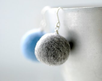 Blue and Grey Earrings, Pastel Earrings, Mismatched Earrings, Felted Wool Earrings, Felted Bead Earrings, Fiber Earrings, Funky Earrings