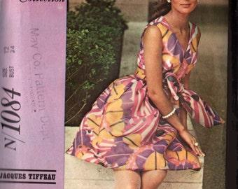 Vintage 1960s Jacques Tiffeau Dress w/ Empire Waist Sewing Pattern McCalls Designer N1084 Madmen Sewing Pattern Size 12
