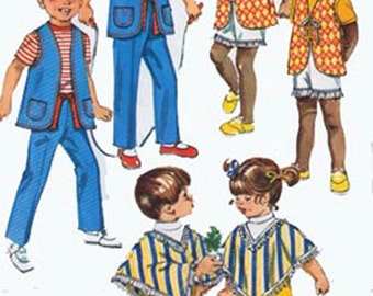 Vintage 1970s Unisex Jiffy Vest, Poncho and Pants Sewing pattern Simplicity 9184 70s Childrens Sewing Pattern  Size 6