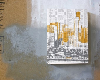Gray and Yellow Downtown Chicago Artwork - Chicago Skyline Print - Chicago Book Page Print