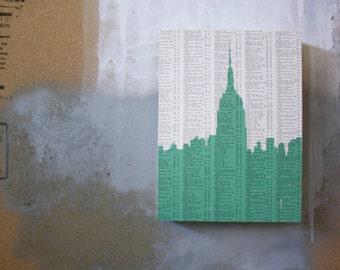 New York City Skyline Artwork - NYC Print - Mint Empire State Building - Empire State Building Print - Book Page