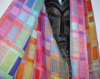 MADE TO ORDER  Handwoven Geometric Silk Shawl, Hand Dyed Doubleweave, Accessories by Tisserande
