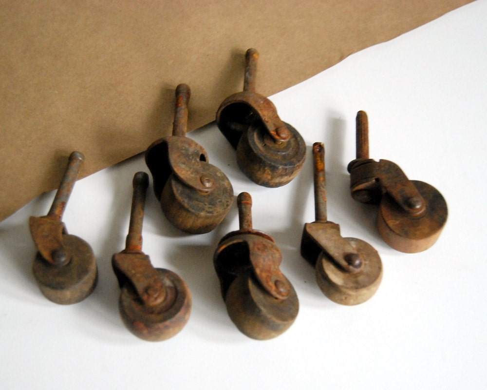 7 Wood Wheel Casters Iron Stem Furniture Casters Vintage