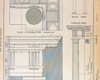 Architectural Drawings - Doric Order Entablature - 1904 Vintage Book Plate - American Vignola