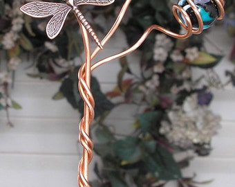 Dragonfly/Butterfly Garden Plant Stake - Metal Sculpture - Glass Orb Copper - Yard Art Lawn Ornament Outdoor Pond Teal