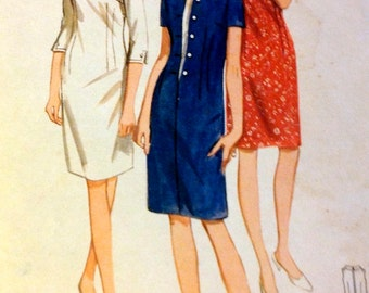 Vintage 60's Sewing Pattern Butterick 4031 Misses' One-Piece Dress with Contrast Dickey Size 16 Bust 36 Complete