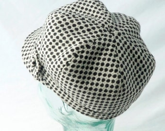 Women's Wool Newsboy Cap in White with Black Dots