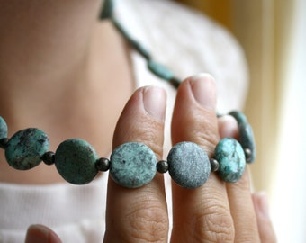 Turquoise Bead Necklace . Genuine Turquoise Necklace Chunky . African Turquoise Necklace . Real Turquoise Jewelry - Corinth Collection