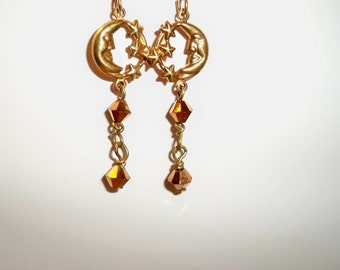 Moon & Stars Earrings, Gold Moon and Stars Dangle Earrings, Crystal Dangles, Available in Silver or Gold with Long or Short Crystal Dangles