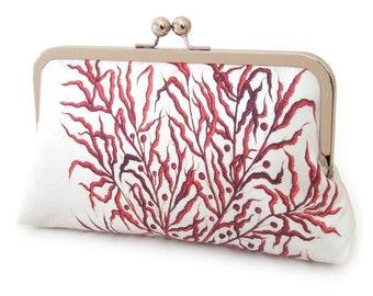 Clutch bag, printed silk purse, RED CORAL