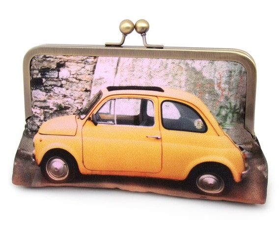Clutch bag, yellow car, silk purse, YELLOW FIAT CAR