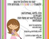 Printable Rainbow Mini Golf Birthday Party Invitation