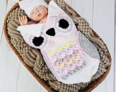 CROCHET PATTERN For Owl Baby Cocoon, Papoose & Hat in 3 Sizes U.K, U.S.A, Deutsch, Francais, Dutch PDF 245 Digital Download