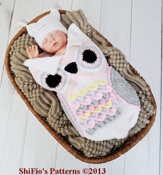 CROCHET PATTERN For Owl Baby Cocoon, Papoose & Hat in 3 Sizes PDF ...