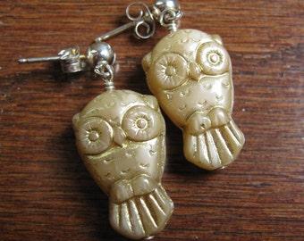 Owl Woodland Dangle Earrings Gold Pressed Glass