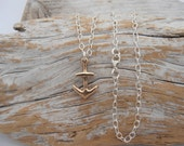 Bronze anchor necklace with sterling silver chain