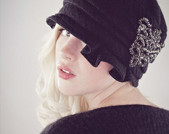 Flapper Hat Knit Cloche Black Wool and Cashmere With Pewter Beaded Applique