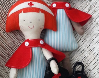 Nurse doll sewing pattern. PDF