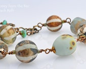 Summer Beach Bracelet - Beach Balls - soft turquoise, brown and white