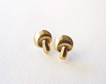 Mushroom Earrings, Woodland Jewelry, Tiny Stud Earrings, Brass Studs, Golden Mushroom Earrings, Sterling Silver Hypoallergenic Studs (E185)