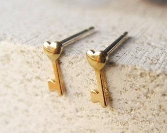 Heart Key Stud Earrings,Heart Earrings,Sterling Silver Posts,Skeleton Key Jewelry,Heart Jewelry,Hypoallergenic Earrings (E220)