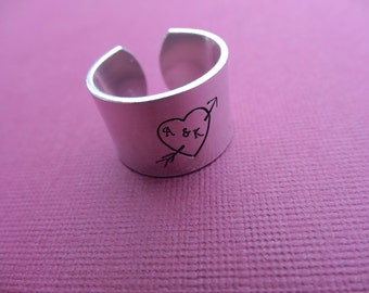 Initials Ring - Heart and Arrow - Custom Cupid Ring - Thick 1/2 inch, Aluminum, Adjustable