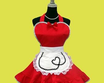 "Women's Apron - Apron "" Hearts ""  Womens Apron, Retro Diner Costume Apron MADE TO ORDER"