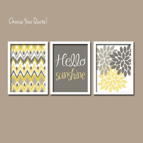 Yellow And Grey Bathroom Wall Decor : Yellow gray wall art girl child canvas artwork hello by