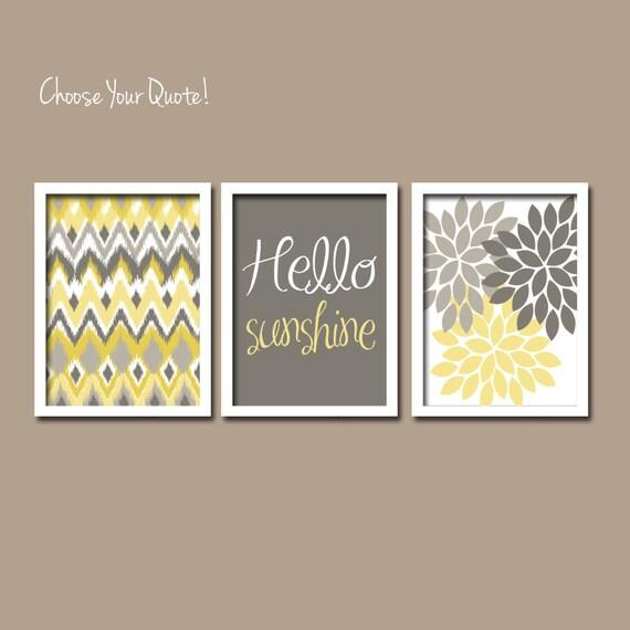 Yellow gray wall art girl child canvas artwork hello by for Bathroom canvas ideas