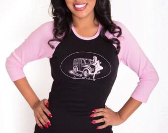 Raglan Pinup Girl Rockabilly Clothing Tee Pink sleeves on black Divco truck